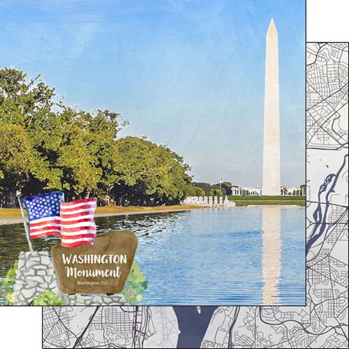 Scrapbook Customs 12x12 Travel Themed Paper: Washing DC - Washington Monument