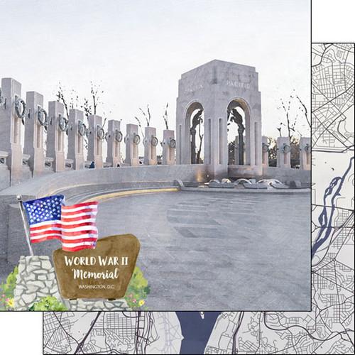 Scrapbook Customs 12x12 Travel Themed Paper: Washing DC - World War II Memorial