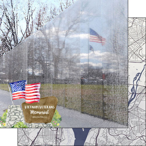 Scrapbook Customs 12x12 Travel Themed Paper: Washing DC - Vietnam Veterans Memorial