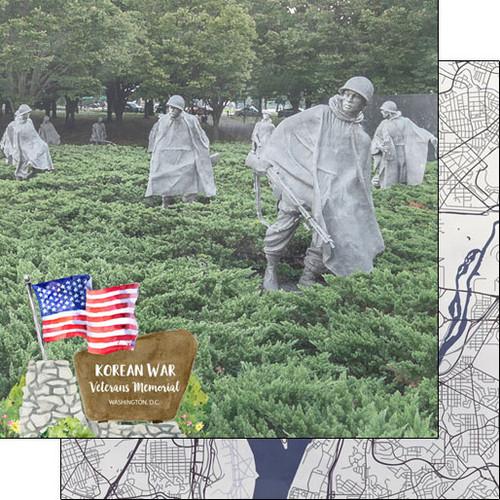 Scrapbook Customs 12x12 Travel Themed Paper: Washing DC - Korean War Veterans Memorial
