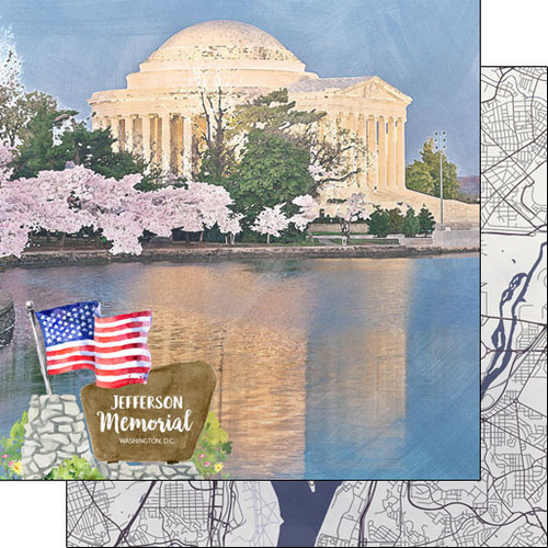 Scrapbook Customs 12x12 Travel Themed Paper: Washing DC - Jefferson Memorial