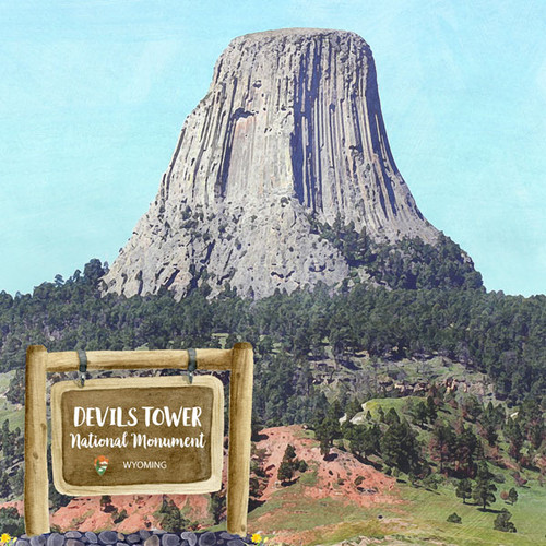 Scrapbook Customs 12x12 Travel Themed Paper: Wyoming - Devils Tower National Momument