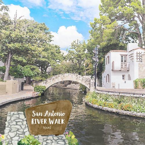 Scrapbook Customs 12x12 Travel Themed Paper: Texas - River Walk San Antonio