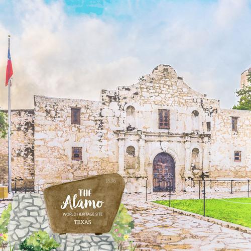 Scrapbook Customs 12x12 Travel Themed Paper: Texas - The Alamo World Heritage Site