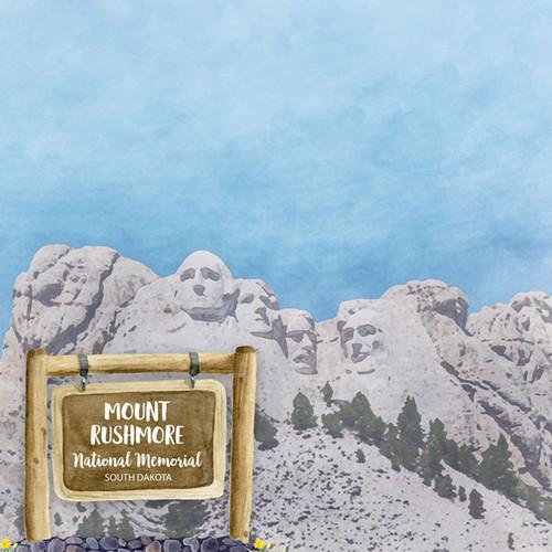 Scrapbook Customs 12x12 Travel Themed Paper: South Dakota - Mt. Rushmore National Memorial