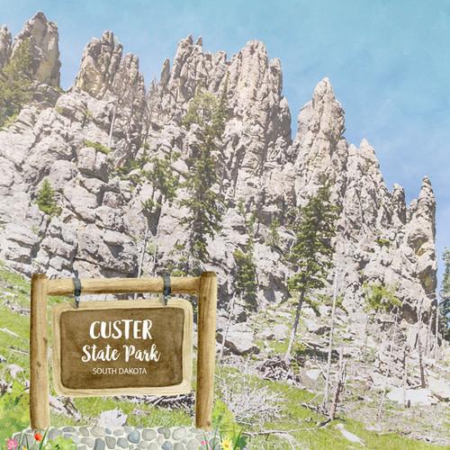 Scrapbook Customs 12x12 Travel Themed Paper: South Dakota - Custer State Park