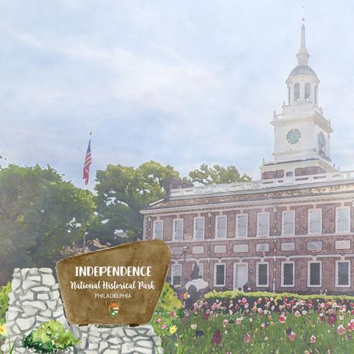Scrapbook Customs 12x12 Travel Themed Paper: Pennsylvania - Independence National Historic Park