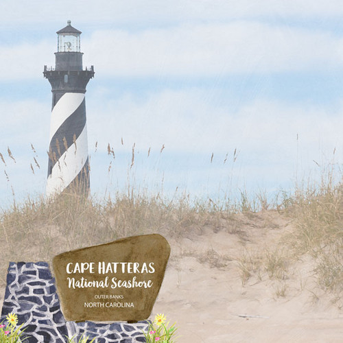 Scrapbook Customs 12x12 Travel Themed Paper: North Carolina - Cape Hatteras National Seashore