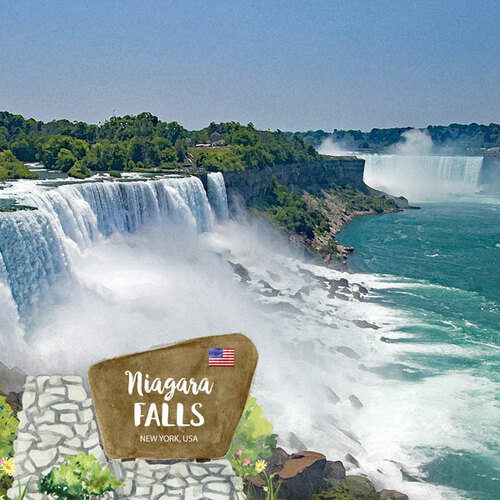 Scrapbook Customs 12x12 Travel Themed Paper: New York - Niagara Falls