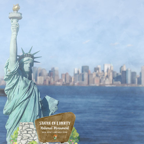 Scrapbook Customs 12x12 Travel Themed Paper: New York - Statue of Liberty