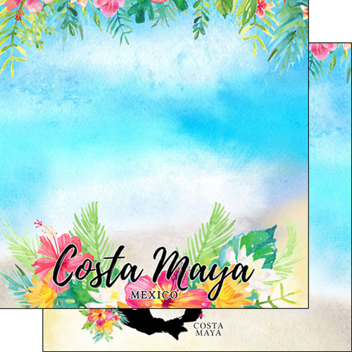 Scrapbook Customs 12x12 Travel Themed Paper: Costa Maya Getaway