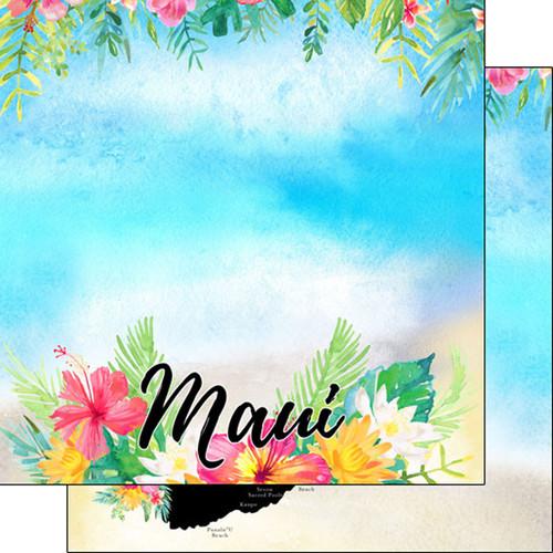 Scrapbook Customs 12x12 Travel Themed Paper: Maui Getaway