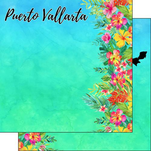 Scrapbook Customs 12x12 Travel Themed Paper: Puerto Vallarta Getaway