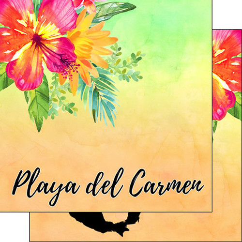 Scrapbook Customs 12x12 Travel Themed Paper: Playa del Carmen Getaway