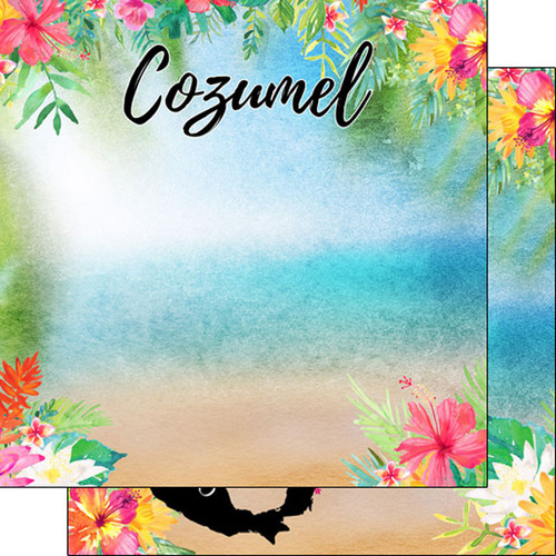 Scrapbook Customs 12x12 Travel Themed Paper: Cozumel Getaway