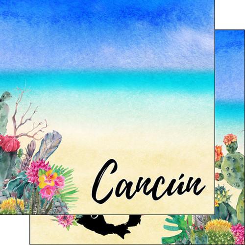 Scrapbook Customs 12x12 Travel Themed Paper: Cancun Getaway