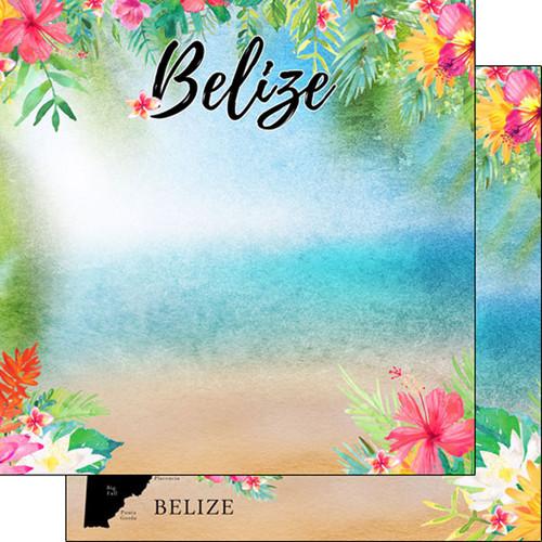 Scrapbook Customs 12x12 Travel Themed Paper: Belize Getaway