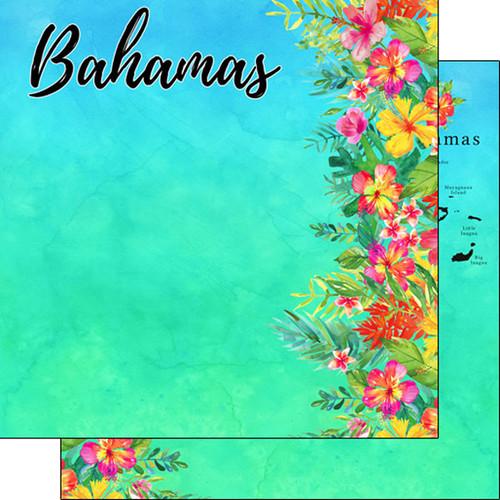 Scrapbook Customs 12x12 Travel Themed Paper: Bahamas Getaway