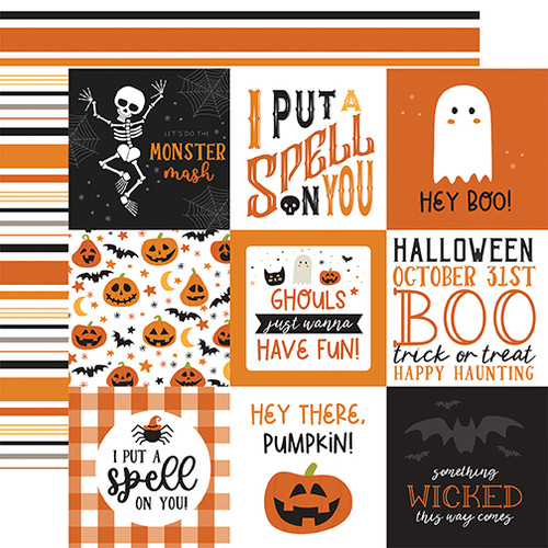 Echo Park Halloween Party 12x12 Paper: 4X4 Journaling Cards