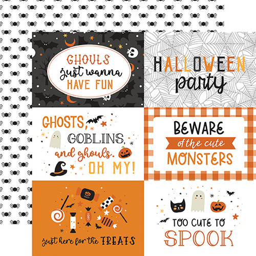 Echo Park Halloween Party 12x12 Paper: 6X4 Journaling Cards