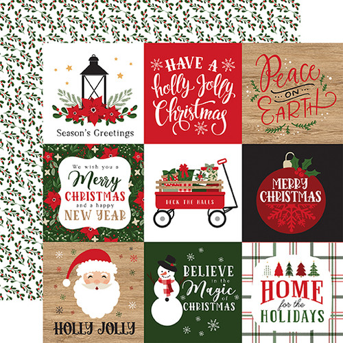 Echo Park Jingle All The Way 12x12 Paper: 4X4 Journaling Cards