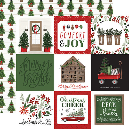 Carta Bella Home For Christmas 12x12 Paper: 4X4 Journaling Cards