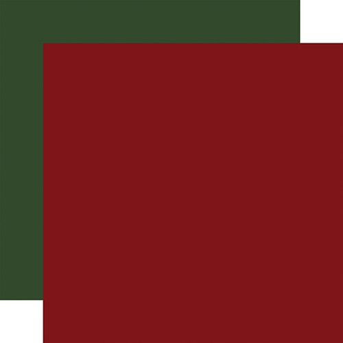 Carta Bella Home For Christmas 12x12 Paper: Dk. Red / Dk. Green (Coordinating Solid)