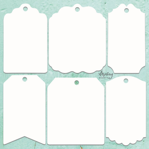Mintay Papers Chippies 12x12 Sheet: Decor -Tags, 6 pcs