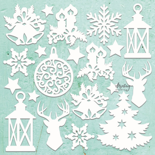 Mintay Papers Chippies 12x12 Sheet: Decor - Christmas Mix, 20 pcs