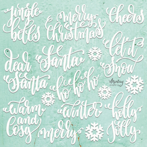 Mintay Papers Chippies 12x12 Sheet: Decor - Christmas Words, 22 pcs
