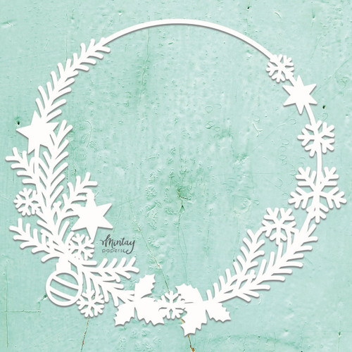 Mintay Papers Chippies 12x12 Sheet: Decor - Christmas Wreath