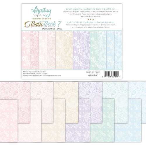Mintay Papers Basic Book #7 6x8 Paper Pad (Lace Backgrouds)