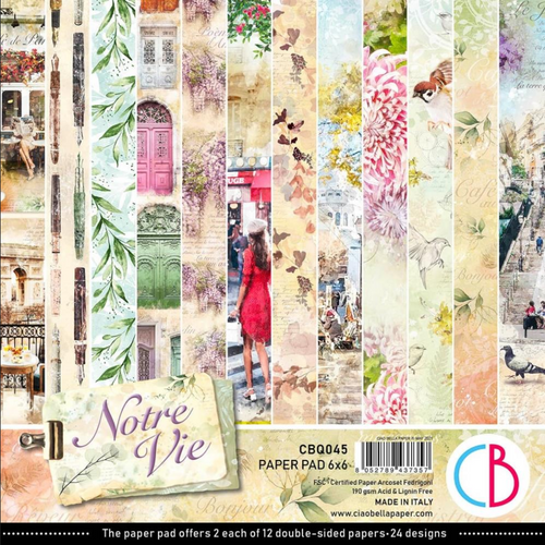 Ciao Bella Papercrafting 6x6 Paper Pad: Notre Vie