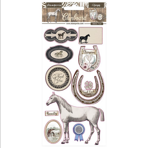 Stamperia Romantic Collection - Horses Adhesive Chipboard