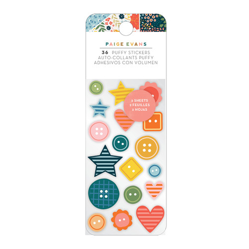 AC Paige Evans Bungalow Lane Embossed Puffy Stickers (36 Piece)