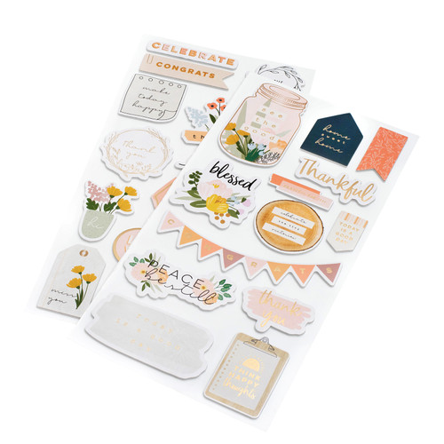 AC Jen Hadfield Peaceful Heart Phrase Thickers: Cardstock, Foam and Gold Foil (29 Piece)