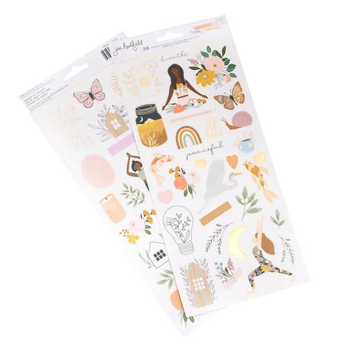 AC Jen Hadfield Peaceful Heart 6x12 Cardstock Stickers w/Gold Foil (93 Piece)
