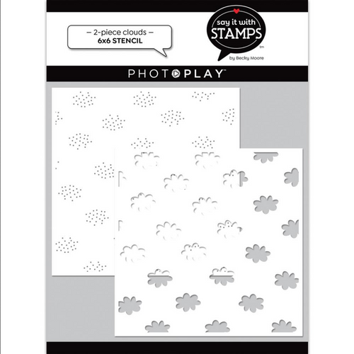 PhotoPlay Say It With Stamps: Clouds 6x6 Stencil (2-Piece)