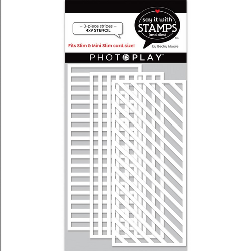 PhotoPlay Say It With Stamps 4x9 Slimline Stencil: Stripes (3-Piece)