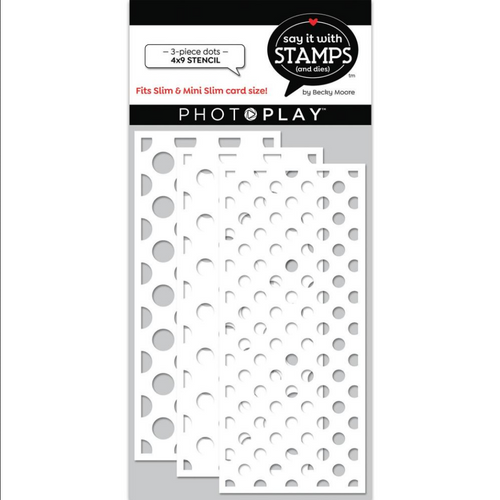 PhotoPlay Say It With Stamps 4x9 Slimline Stencil: Dots (3-Piece)