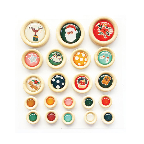 Fancy Pants Cozy Christmas Wood Buttons