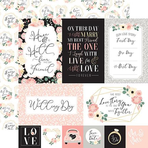 Echo Park Wedding 12x12 Paper: Multi Journaling Cards