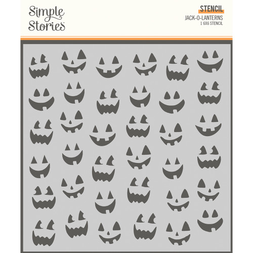 Simple Stories Spooky Nights 6x6 Stencil: Jack-O-Lanterns