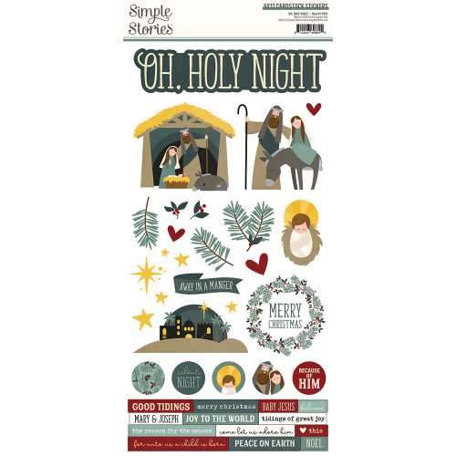 Simple Stories Oh, Holy Night 6x12 Cardstock Sticker