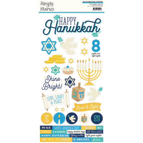Simple Stories Happy Hanukkah 6x12 Cardstock Sticker