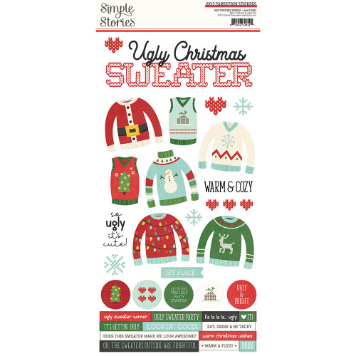 Simple Stories Ugly Christmas Sweater 6x12 Cardstock Sticker