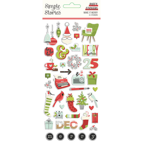 Simple Stories Make It Merry Puffy Stickers