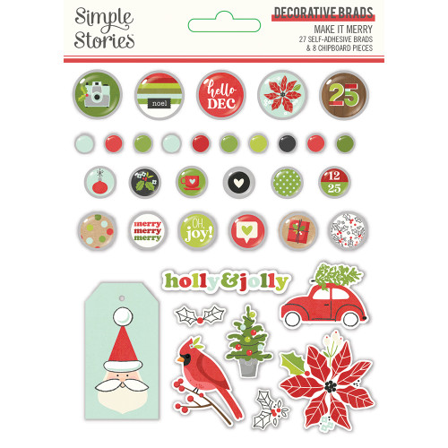 Simple Stories Make It Merry Decorative Brads