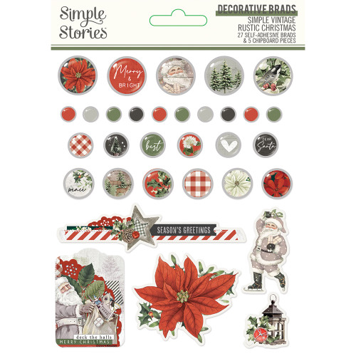 Simple Stories Simple Vintage Rustic Christmas Decorative Brads