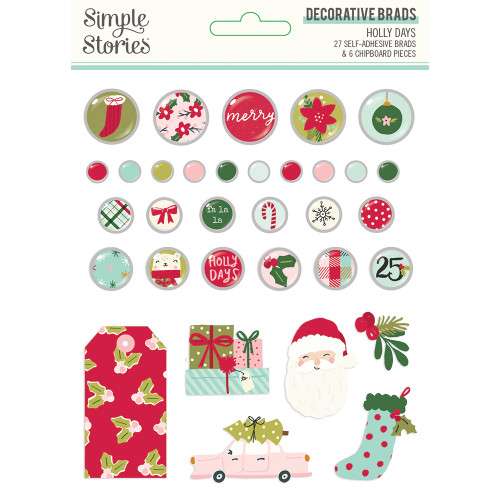 Simple Stories Holly Days Decorative Brads